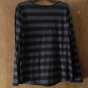 Liz Claiborne Tops - Black & Silver Striped Crew Neck Long Sleeve Top